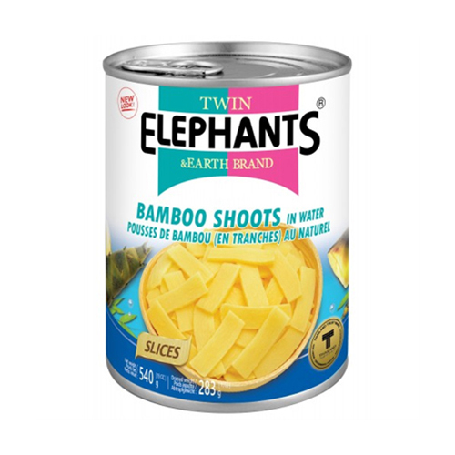 Twin Elephant Bamboo Shoots Slices In Water 540g 1